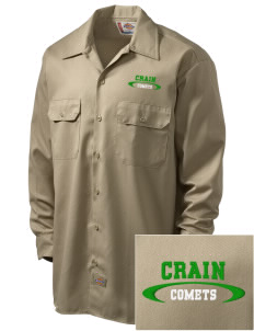 Crain Middle School Comets Embroidered Dickies Men's Long-Sleeve Workshirt