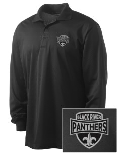 Black River High School Panthers Embroidered Men's Long Sleeve Micropique Sport-Wick Sport Shirt