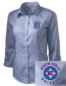 North Cedar Middle School Knights Embroidered Women's 3/4 Sleeve Non-Iron