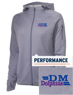 Del Mar Elementary School Dolphins Embroidered Women's Tech Fleece Full-Zip Hooded Jacket