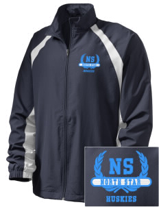 North Star Elementary School Huskies  Embroidered Men's Full Zip Warm Up Jacket