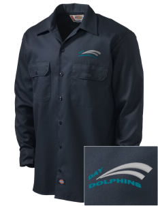Day Middle School Dolphins Embroidered Dickies Men's Long-Sleeve Workshirt