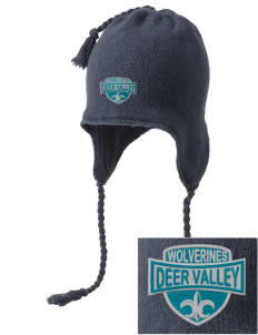 Deer Valley High School Wolverines Embroidered Knit Hat with Earflaps
