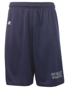 "West Valley Middle School Wolves  Russell Deluxe Mesh Shorts, 10"" Inseam"