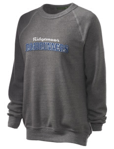 Ridgemoor Elementary School Roadrunners Unisex Alternative Eco-Fleece Raglan Sweatshirt with Distressed Applique