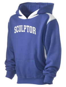 Sculptor Elementary School Painters With Brushes Kid's Pullover Hooded Sweatshirt with Contrast Color