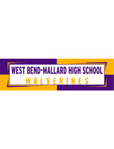 "West Bend-Mallard High School Wolverines Bumper Sticker 11"" x 3"""