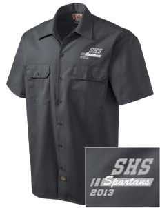 Skyline High School Spartans Embroidered Dickies Men's Short-Sleeve Workshirt