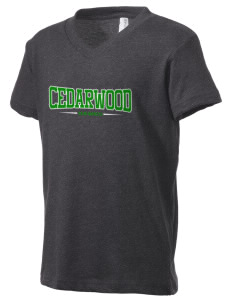 Cedarwood Elementary School Hawks Kid's V-Neck Jersey T-Shirt
