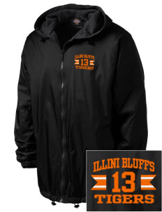Illini Bluffs Elementary School Tigers Embroidered Dickies Men's Fleece-Lined Hooded Jacket