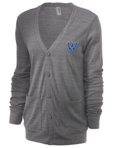 Wickes Elementary School Warriors Unisex 5.6 oz Triblend Cardigan with Distressed Applique