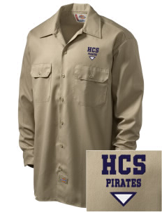 Hudson Community School Pirates Embroidered Dickies Men's Long-Sleeve Workshirt