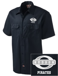 Hudson Community School Pirates Embroidered Dickies Men's Short-Sleeve Workshirt