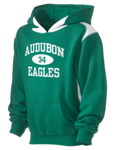 Audubon Junior High School Eagles Kid's Pullover Hooded Sweatshirt with Contrast Color