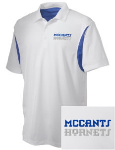 McCants Middle School Hornets Embroidered Men's Back Blocked Micro Pique Polo