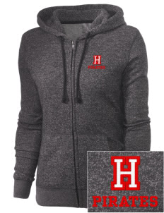 Hartman Middle School Pirates Embroidered Women's Marled Full-Zip Hooded Sweatshirt