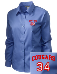 Albert Thomas Middle School Cougars  Embroidered Women's Long Sleeve Non-Iron Twill Shirt