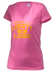 Liberty High School Lions Juniors' Fine Jersey V-Neck Longer Length T-shirt