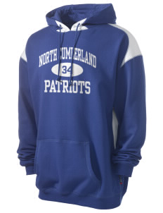 North Cumberland Elementary School Patriots Men's Pullover Hooded Sweatshirt with Contrast Color