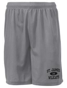 "Saint James High School Wildcats Men's Mesh Shorts, 7-1/2"" Inseam"