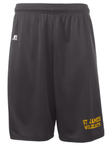 "Saint James High School Wildcats  Russell Deluxe Mesh Shorts, 10"" Inseam"