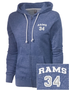 Ingraham High School Rams Embroidered Women's Marled Full-Zip Hooded Sweatshirt