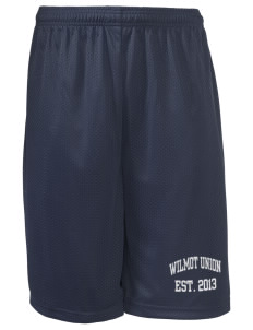 "Wilmot Union High School Panthers Long Mesh Shorts, 9"" Inseam"