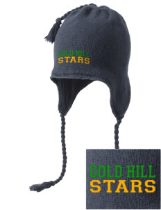Gold Hill Elementary School Stars Embroidered Knit Hat with Earflaps