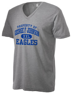 George F Johnson Elementary School Eagles Alternative Men's 3.7 oz Basic V-Neck T-Shirt