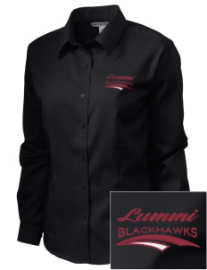 Lummi Nation School Blackhawks  Embroidered Women's Long Sleeve Non-Iron Twill Shirt
