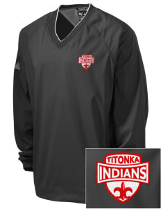 Titonka Consolidated School Indians Embroidered adidas Men's ClimaProof V-Neck Wind Shirt