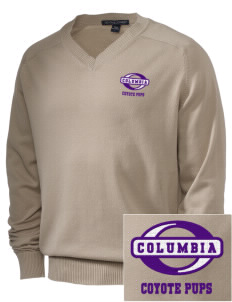 Columbia Elementary School Coyote Pups Embroidered Men's V-Neck Sweater