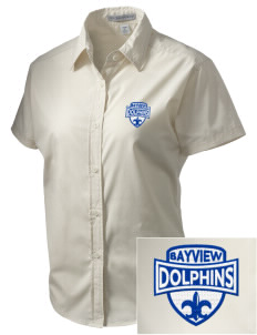 Bayview Elementary School Dolphins Embroidered Women's Short Sleeve Easy Care, Soil Resistant Shirt
