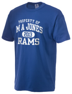 M A Jones Elementary School Rams  Russell Men's NuBlend T-Shirt