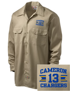 Cameron Elementary School Chargers Embroidered Dickies Men's Long-Sleeve Workshirt