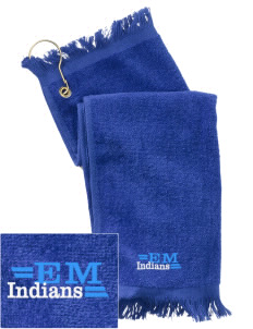 Evans Mills Primary School Indians  Embroidered Grommeted Finger Tip Towel