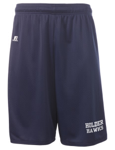 "Holder Elementary School Hawks  Russell Deluxe Mesh Shorts, 10"" Inseam"