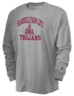 Sandhills Farm Life Elementary School Trojans  Russell Men's Long Sleeve T-Shirt