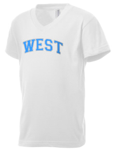 West Junior High School Warhawks Kid's V-Neck Jersey T-Shirt
