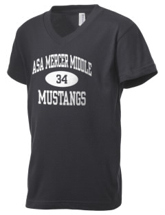 Asa Mercer Middle High Mustangs Kid's V-Neck Jersey T-Shirt