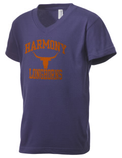 Harmony High School Longhorns Kid's V-Neck Jersey T-Shirt
