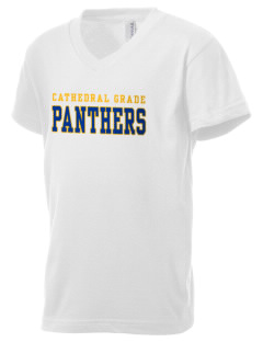 Cathedral Grade School Panthers Kid's V-Neck Jersey T-Shirt
