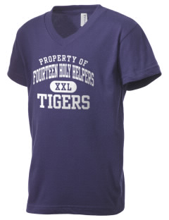 Fourteen Holy Helpers School Tigers Kid's V-Neck Jersey T-Shirt
