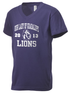 Our Lady Of Guadalupe School Lions Kid's V-Neck Jersey T-Shirt