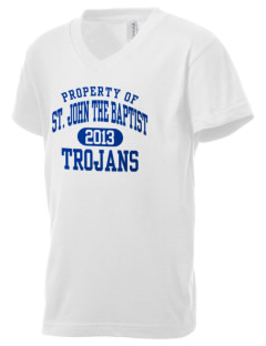 Saint John The Baptist School Trojans Kid's V-Neck Jersey T-Shirt