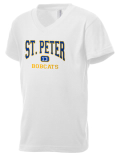 Saint Peter School Bobcats Kid's V-Neck Jersey T-Shirt