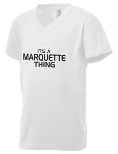 Marquette High School Warriors Kid's V-Neck Jersey T-Shirt