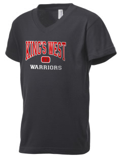 King's West School Warriors Kid's V-Neck Jersey T-Shirt