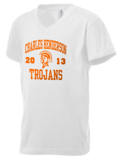 Charles Henderson Middle School Trojans Kid's V-Neck Jersey T-Shirt