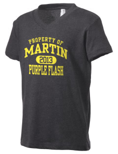 Martin High School Purple Flash Kid's V-Neck Jersey T-Shirt